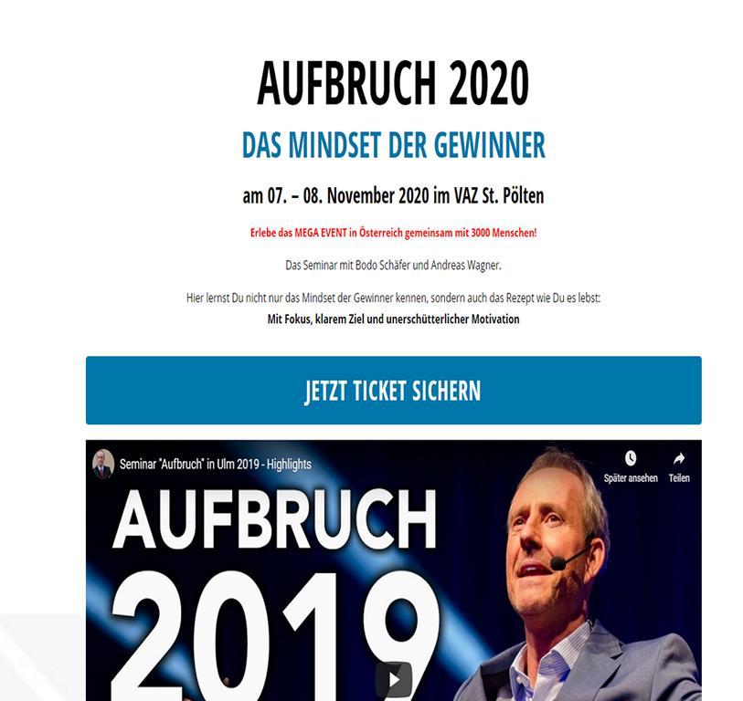Bodo Schäfer AUFBRUCH 2020 DAS MINDSET DER GEWINNER - Finanzcoach Geld