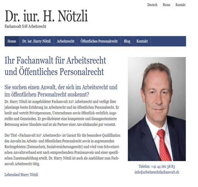 Dr. iur. Harry Nötzli – Anwalt für Arbeitsrecht in Zürich