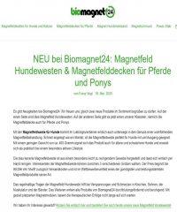 NEU bei Biomagnet24: Magnetfeld Hundewesten & Magnetfelddecken für Pferde und Ponys